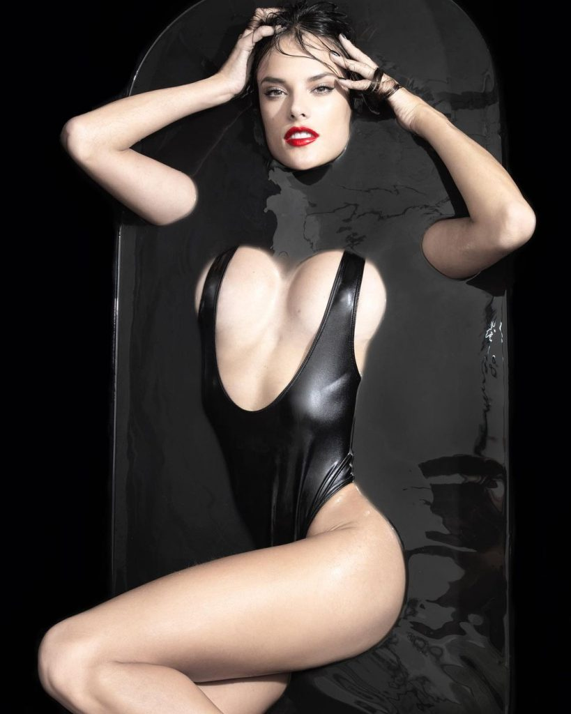 Alessandra Ambrosio In Black Goo!
